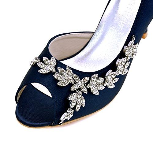 ElegantPark HP1542 Mujer Fiesta Zapatillas Peep Toe D'orsay Rhinestone Tacón De Aguja Satén Zapatos De Boda Azul Marino