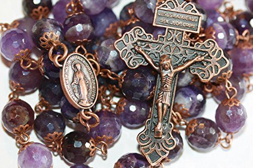 Large Amethyst and Antique Copper 10mm 5 Decade Stone Bead Rosary With Pardon Crucifix Made in Oklahoma ()