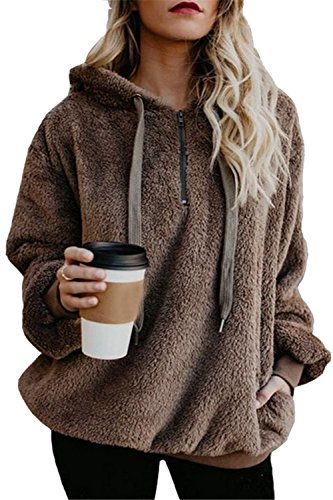 ReachMe Women's Oversized Sherpa Pullover Hoodie Pockets 1/4 Zip Sweatshirt(Brown,XXX-Large) (Holiday Jacket Womens)