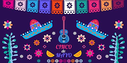 Baocicco 20x10ft Cinco de Mayo Photography Backdrop Mexican Holiday Vacation Festival Celebration Background Mexico Hat Guitar Flowers Cactus Flags National May 5th Day Photo Studio Props
