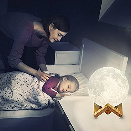 Lámpara luna 3D | La ORIGINAL de Indoostrial | Lámpara LED en forma de luna | Control táctil | Batería incorporada | Luz decorativa de 15 cms | Moon lamp ...