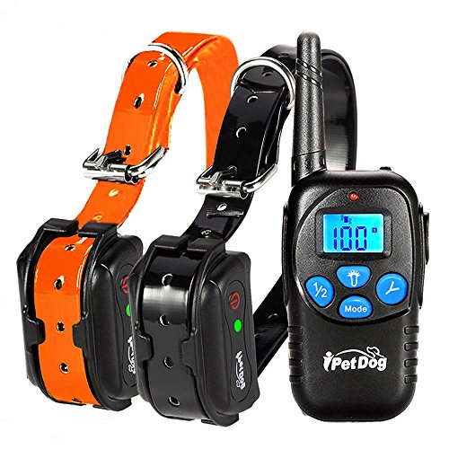 Fettish Dog Training Collar Rechargeable & Waterproof Electric Remote Dog Shock Collar with LED Light Beep Vibration Safety Shock Modes for Small/Medium/Large Training Collars (Balck&Orange)