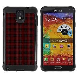 Fuerte Suave TPU GEL Caso Carcasa de Protección Funda para Samsung Note 3 / Business Style Emo Dark Goth Pattern Black Red