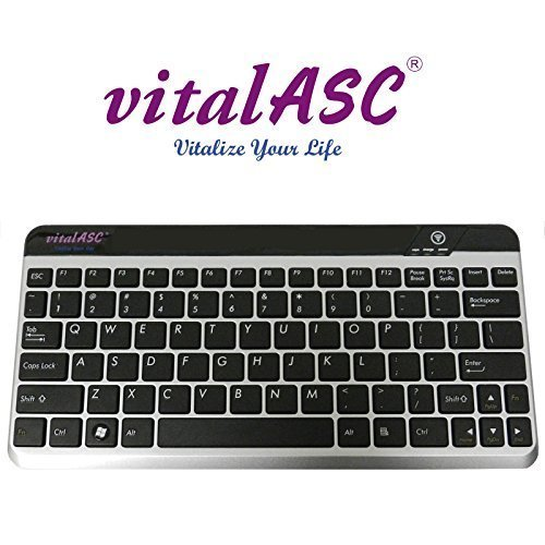 Wireless Ultra Slim Bluetooth Keyboard for iPad, iPhone, Android, Windows ,Compact Rechargeable, Black (KB10KA-S) by vitalASC