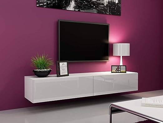 Mueble de tele de diseño colgante Vito 180 cm, blanco: Amazon.es ...