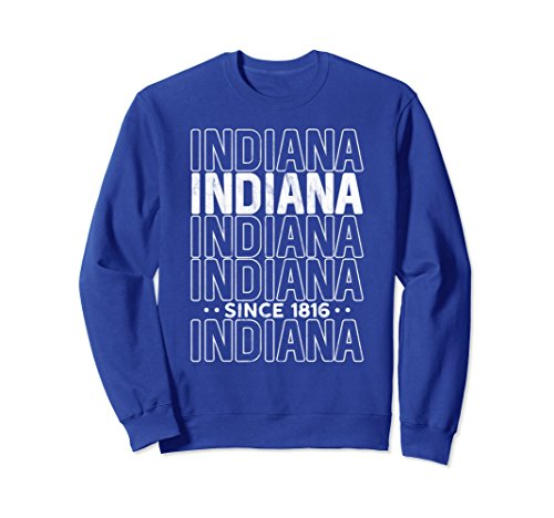 51u%2B13xBENL Unisex Modern Indiana Home State Pride Sweatshirt : Retro Sweater Small Royal Blue