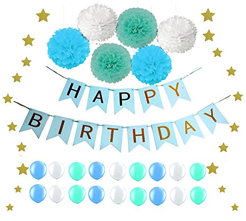 """Elecrainbow One-stop Shopping for Blue Birthday Party Decoration Kit: """"Happy Birthday"""" Swallowtail Banner, 15g Sparkly Star Confettis, 6 pcs Tissue Pom Poms Flower, 18 pcs Shining Balloons"""