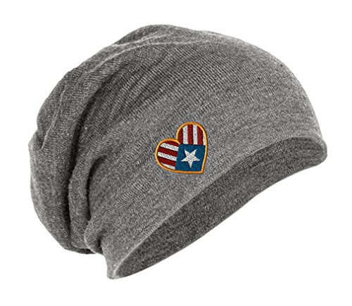 Puerto Rican Flag Heart Embroidery Embroidered Slouch Long Beanie Skully Hat Cap (Heart Flag Embroidery)