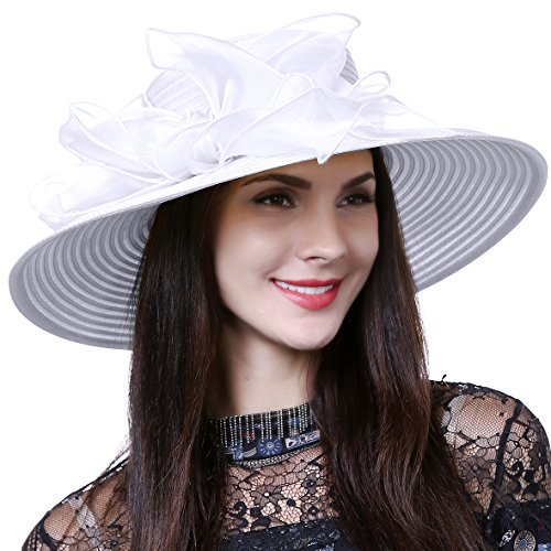 Lightweight Kentucky Derby Church Dress Wedding Hat #S052 (S062-White)