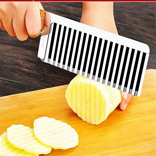 Potato wavy edged knife stainless steel Wood handle kitchen gadget vegetable fruit cutting peeler cooking tool (Wonder Peeler)
