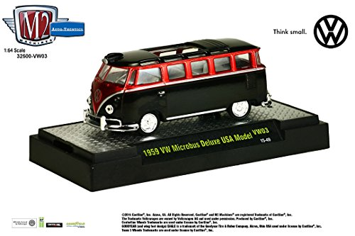 1959 VW MICROBUS DELUXE USA MODEL (Gloss Black & Candy Red) * M2 Machines Auto-Thentics * 2015 Volkswagen Release 3 Castline 1:64 Scale Die-Cast Vehicle & Display Case Set ( - Truck Tow Deluxe Red