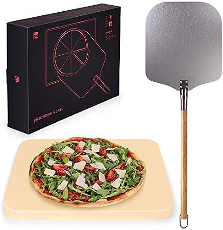 Blumtal Pala y Piedra para Pizza –Piedra para Horno de Gas, Barbacoa y Parrilla- Set Pizza Stone