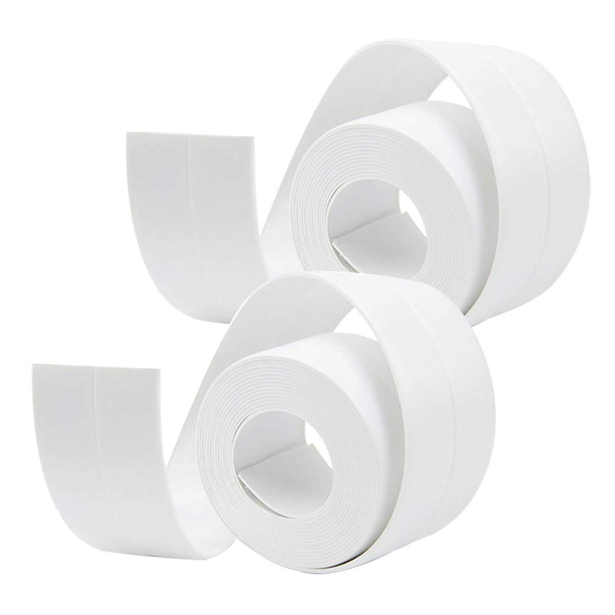 Tub and Wall Sealing Caulk Strip Wall and Corner Self Adhesive Peel and Caulk Strip Fixture Tape Caulk Sealer Tub Surround Waterproof Decorative Sealer Trim Pack of 2 (Grey) Bloomoak