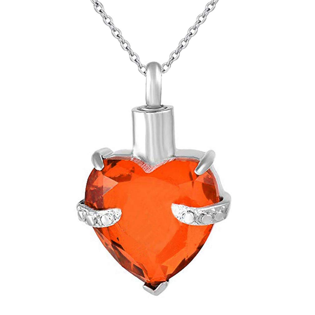 WK Always in My Heart 12 Birthstone Crystal Urn Necklace Heart Memorial Keepsake Pendant Ash Holder Cremation Jewelry for Ashes
