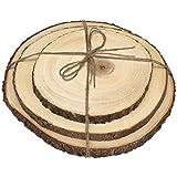 Lipper International 1040 Acacia Slab Boards with Bark No Feet (Set of 3), Brown