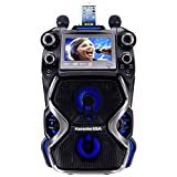 Karaoke USA Complete Rechargeable Karaoke System with 2 Microphones, Remote Control, 7'' Color Display, LED Lights - Works with Bluetooth, CD and MP3 (GF920)