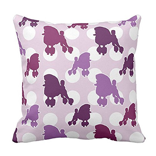 Ashasds Purple Poodle Polka Dot Dots Decorative Throw Pillow Covers with Zips Accent Pillows Case for Girls Family Children Size: 20x20 Inches Two Sides