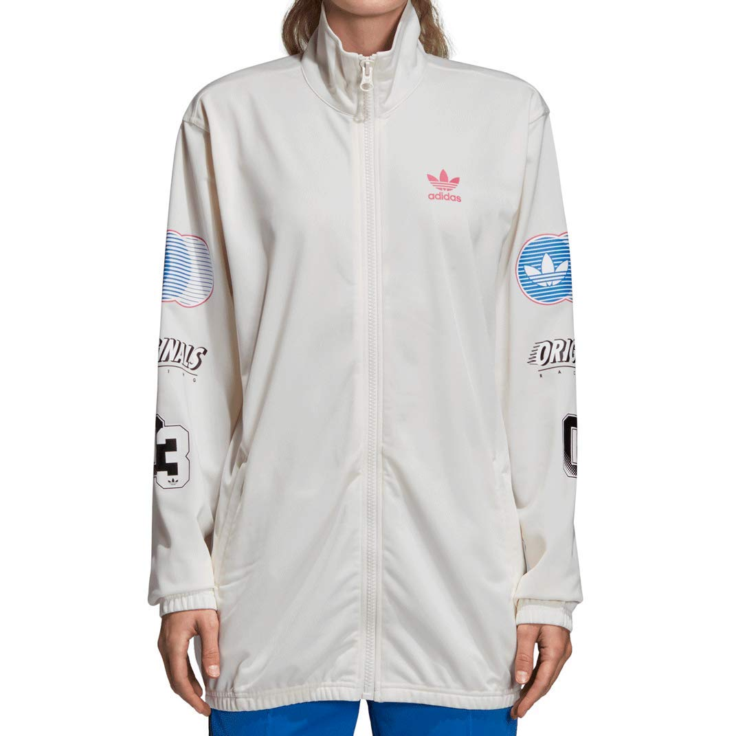 7b61ff6f0d7e adidas Originals Women s Athletic Track Jacket Chalk White Red Blue dh4196  at Amazon Women s Clothing store