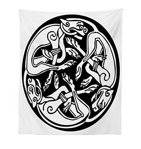 Lunarable Celtic Tapestry, Three Dogs Biting Their Tails Animal Forms Vikings Heritage Celtic Knots Medallion, Fabric Wall Hanging Decor for Bedroom Living Room Dorm, 23 W X 28 L Inches, Black White