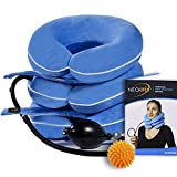 Cervical Neck Traction Device by NeckFix for Instant Neck Pain Relief [FDA Approved]✮ Adjustable Neck Stretcher Collar for Home Traction Spine Alignment + Trigger Point Massage Ball (11-19 inch)