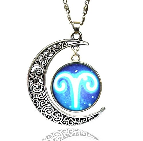 Fariishta Jewelry Gemstone Constellation Star Moon Time Aries Pendant Necklace