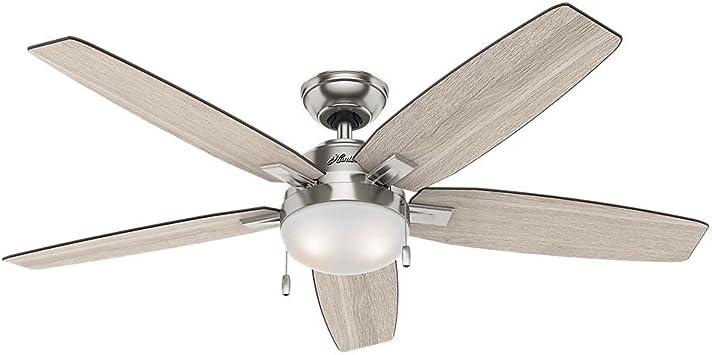 Hunter 59183 Antero 54 en LED Interior níquel pulido ventilador de ...