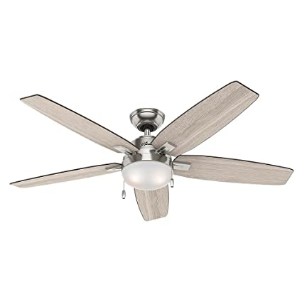 nickel ceiling fan with light pewter hunter 59183 antero 54 in led indoor brushed nickel ceiling fan with light
