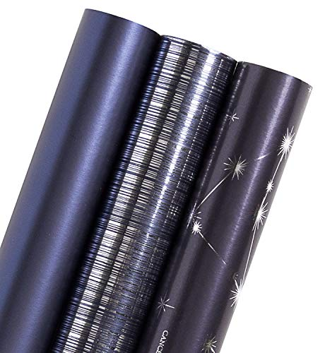 WRAPAHOLIC Gift Wrapping Paper Roll – Navy and Silver Constellation/Line/Solid Color for Birthday, Holiday, Father's Day, Baby Shower Gift Wrap – 3 Rolls – 30 inch X 120 inch Per Roll