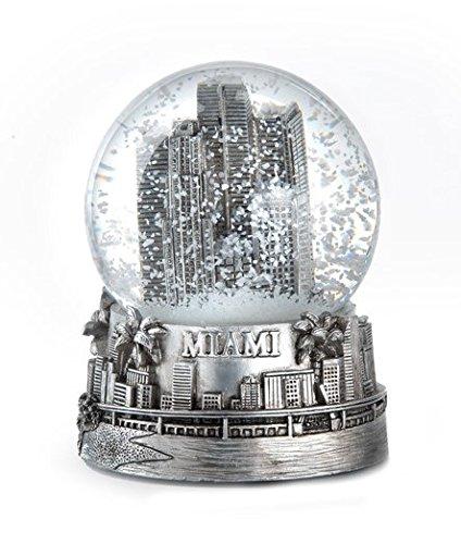 Zizo Miami Florida Silver Snow Globe 65mm