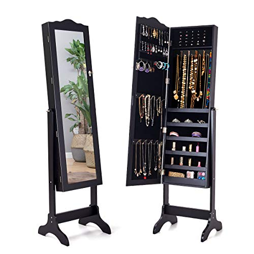 Giantex Jewelry Box Armoire with Mirror, Standing Jewelry Cabinet, 29 Necklace Holder Hooks Ring Earring Makep Display Storage Organizer Gift Armoires for Girls Women Jewelry Cabinets, Black