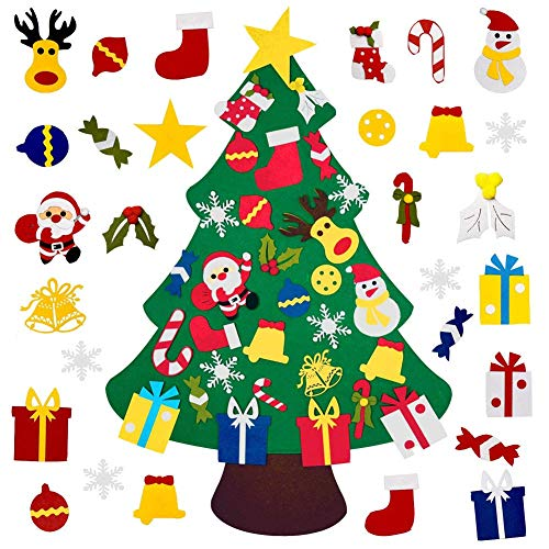 Mazoliy Kids DIY Felt Christmas Tree with 30pcs Set Wall Hanging Detachable Ornaments Xmas Gifts Children Friendly Christmas Home Decorations (Crafts Christmas Friendly Kid)