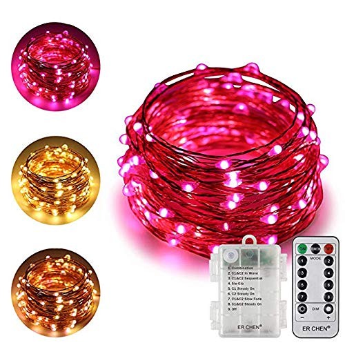 ErChen Battery Powered Dual-Color Led String Lights, 33FT 100 LEDs Color Changing Dimmable 8 Modes Copper Wire Fairy Lights with Remote Timer for Indoor Outdoor Christmas (Warm White, Pink)