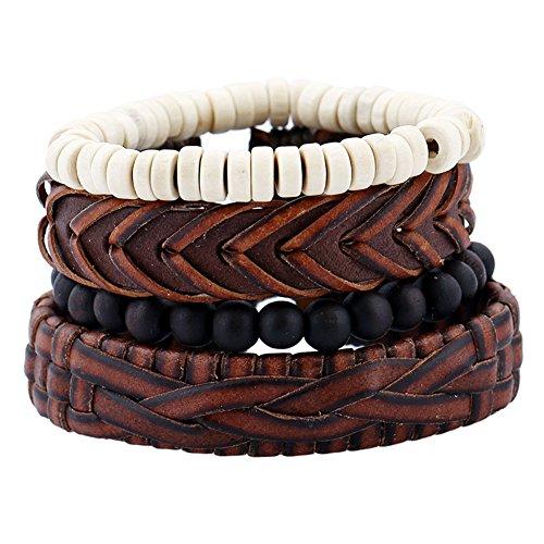550-JSEA 4pcs/set Leather Beads Bracelets Bangles Set Buddhist
