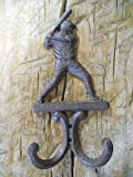 New 3 Cast Iron by YourLuckyDecor Antique Style BASEBALL PLAYER Coat Hooks Hat Hook Rack Towel BAT