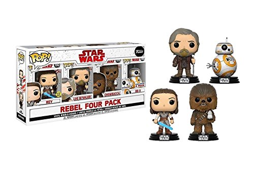 Star Wars Rebel Four Pack Vinyl Bobble-Heads (Rey, Luke Skywalker, Chewbacca, BB-8)