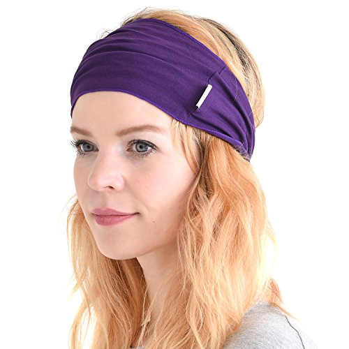 (CHARM mens Elastic Bandana Headband Japanese Long Hair Dreads Head wrap Purple)