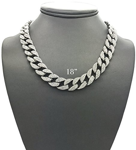 Mens Iced Out Hip Hop Silver tone CZ Miami Cuban Link Chain Choker Necklace (18