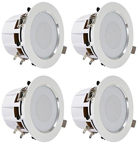 Pyle 3.5'' Bluetooth Ceiling Speakers / Wall Speaker Kit, (4) Aluminum Frame 2-Way Speakers with Built-in LED Lights (PDIC4CBTL35B)