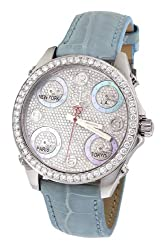 Blue Band Mid-Size Five Time Zone Diamond Watch