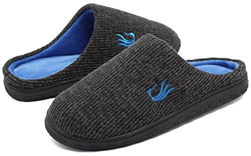 welltree Men House Slippers Two-Tone Memory Foam Warm w/Indoor Outdoor Sole Shoes Dark Gray/Blue uStK4ZKkrw