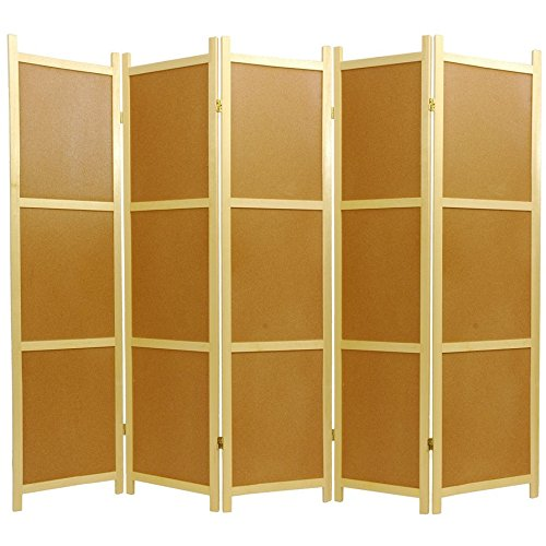 6 Panel Floor (Oriental Furniture 6 ft. Tall Cork Board Shoji Screen - 5 Panel)