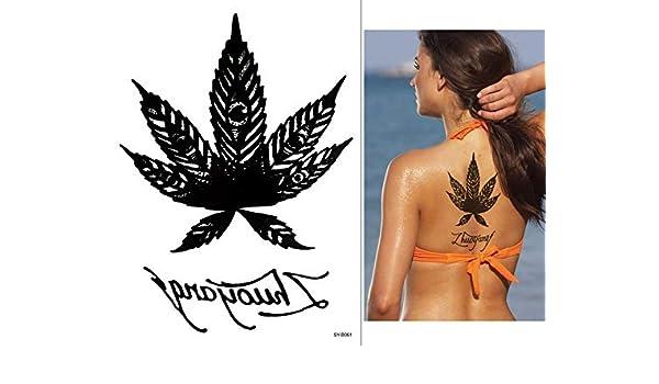 Hoja de Marihuana Diseño Tattoo Negro syb061 brazo espalda hombro ...