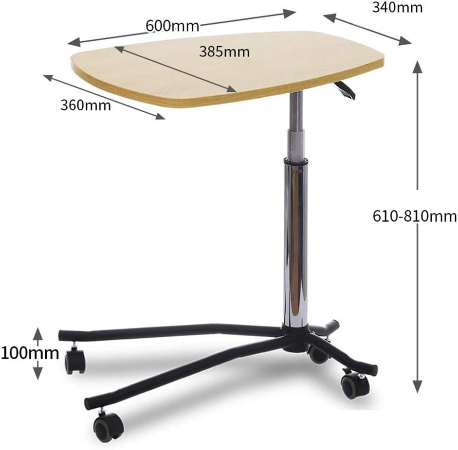 CLEAVE WAVES Bedside Table Adjustable Overbed Bedside Table with Wheels Pneumatic Lifting Rod Notebook Desk with Wheels Sofa Side Table Yellow Oak