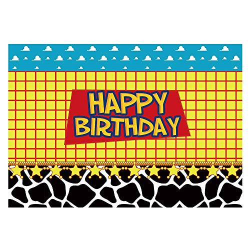 Funnytree 7x5ft Happy Birthday Party Backdrop Kids Cartoon Themed Baby Boy Photography Background Western Cowboy Cowgirl Sky Clouds Cow Print Photo Booth Decorations Cake Table Banner