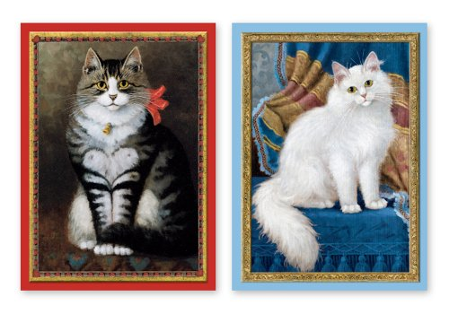 Cat with Heart & Fluffy Cat Note Cards - 10 Vibrant, Museum-Quality Note Cards with Envelopes in an Art-Inspired Wallet (Wallet Note Cards)