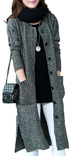 KUBITU Womens Classic Button Down Pocket Knit Long Large Warm Cardigan Sweater Coat