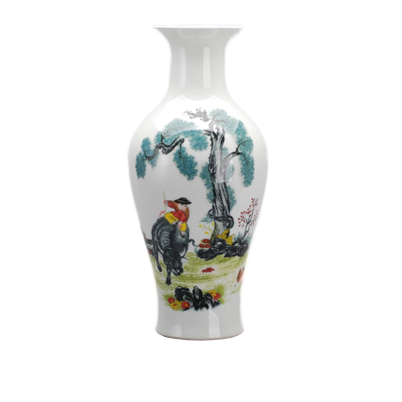 Dahlia Chinese Famille Rose Porcelain Farm Boy Riding Bull Flower Vase, 15 Inches, Fish Tail Vase