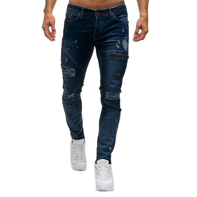 JiaMeng Pantalones Vaqueros Ajustados con Cremallera y Pantalones Vaqueros con Agujero Casual Pantalones de Mezclilla Pantalones Deportivos Pantalones ...