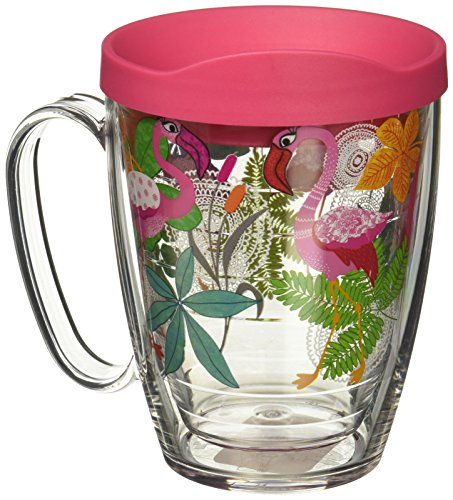 Tervis 1287036 Flamingo Fun Tumbler with Wrap and Fuchsia Lid 16oz Mug, Clear
