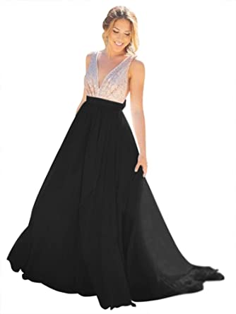 Harsuccting Deep V-Neck Bling Sequins Backless Long Chiffon Evening Prom Dress Black 2